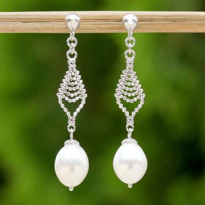 Cultured pearl dangle earrings, 'Lily Mind' - Handmade Sterling Silver and Cultured Pearl Dangle Earrings