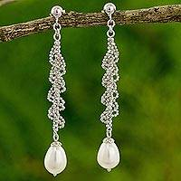 Cultured pearl dangle earrings, 'Party Pretty' - White Pearl Drops on Artisan Crafted 925 Silver Earrings