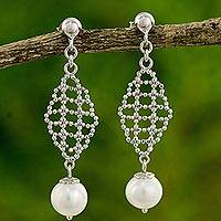 Cultured pearl dangle earrings, 'White Rose Mist' - White Pearls on Artisan Crafted 925 Sterling Silver Earrings