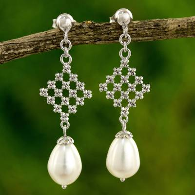 Cultured pearl dangle earrings, 'White Rosebud' - Modern Design Earrings with White Pearls and 925 Silver