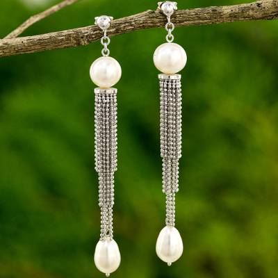 Cultured freshwater pearl waterfall earrings, Dancing Lily