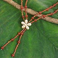 Carnelian beaded pendant necklace, 'Summer Nights' - Carnelian and Pearl Beaded Necklace with Floral Pendant