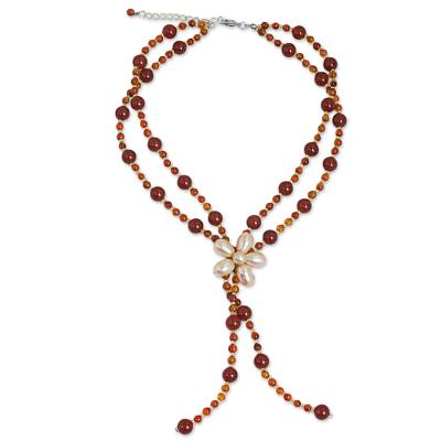 Carnelian and Pearl Beaded Necklace with Floral Pendant