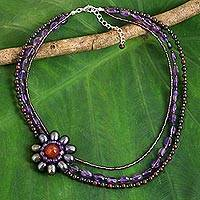 Amethyst flower pendant necklace, 'Lady Gerbera' - Cultured Pearl Pendant Necklace with Amethyst and Carnelian