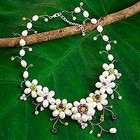Cultured pearl flower necklace, 'Zinnia Garden' - Cultured Pearl Amethyst Quartz Necklace from Thailand