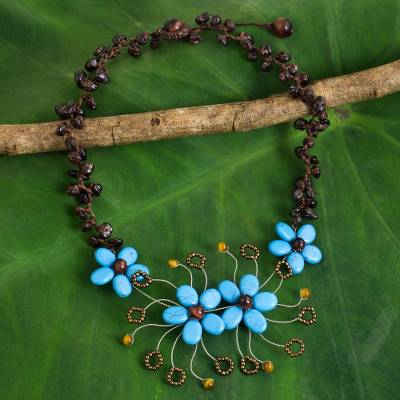 Multi-gemstone beaded necklace, Sunny Daisy