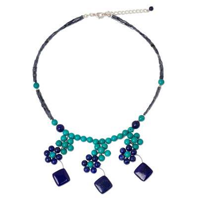 Dyed Calcite Lapis Lazuli Beaded Necklace from Thailand
