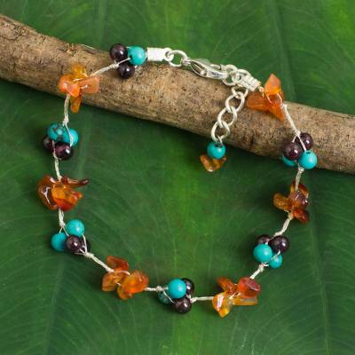 Multi-gemstone beaded bracelet, 'Everlasting' - Hand Made Beaded Calcite and Garnet Bracelet from Thailand