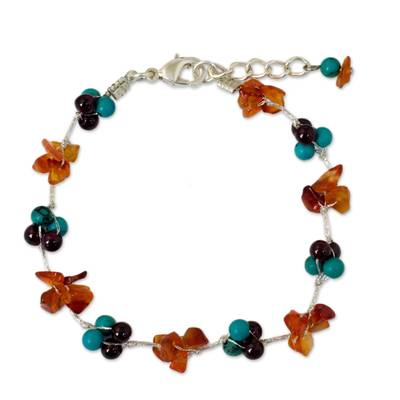 Hand Made Beaded Calcite and Garnet Bracelet from Thailand
