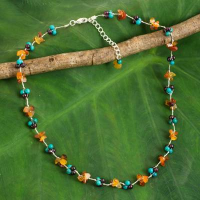 Multi-gemstone beaded necklace, 'Everlasting' - Dyed Calcite Garnet Carnelian Beaded Necklace from Thailand