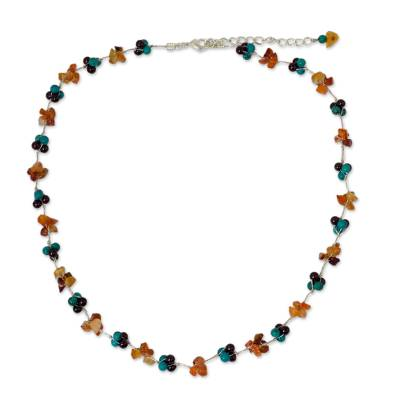 Dyed Calcite Garnet Carnelian Beaded Necklace from Thailand