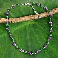 Amethyst beaded necklace, Everlasting