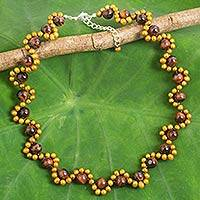 Cultured pearl and tiger's eye beaded necklace, 'Golden Mist' - Modern Thai Handcrafted Tiger's Eye and Pearl Necklace