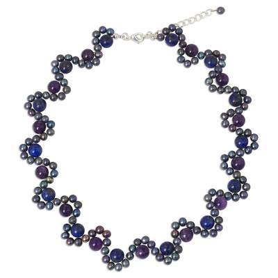 Cultured Pearl Necklace with Lapis Lazuli and Amethyst