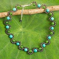 Multi-gemstone beaded necklace,