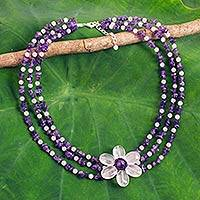 Amethyst and rose quartz beaded flower necklace, 'Blushing Daisy' - Artisan Crafted Multi-Gemstone Beaded Pendant Necklace