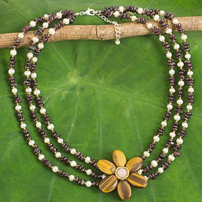 Tiger's eye pendant necklace, 'Golden Sunflower' - Tiger's Eye Beaded Necklace with Rose Quartz and Garnet
