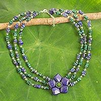 Multi-gemstone beaded strand necklace, 'Majestic Daisy' (Thailand)