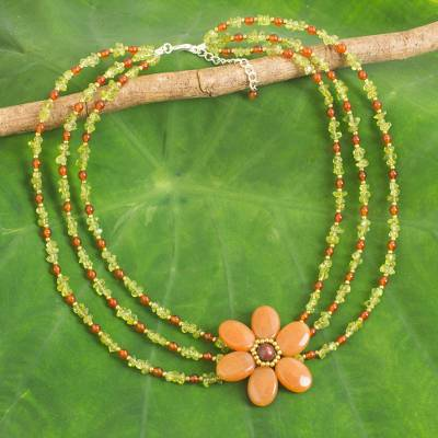 Multi-gemstone beaded strand necklace, 'Orange Radiance' - Hand Crafted Multi-Gemstone Beaded Floral Pendant Necklace