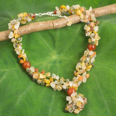 Multigemstone beaded necklace, 'Sunshine Dance' - Fair Trade Multigemstone Beaded Yellow and Orange Necklace