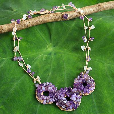 Amethyst beaded necklace, 'Hill Tribe Diva' - Thai Artisan Crafted Lilac and Lavender Amethyst Necklace