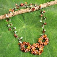 Carnelian beaded necklace, 'Hill Tribe Diva' - Fair Trade Multigemstone Beaded Orange and Green Necklace