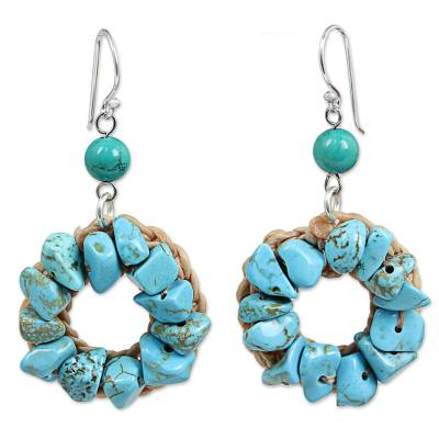 Blue and Green Dyed Calcite Dangle Earrings Made in Thailand