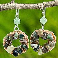 Jasper dangle earrings, 'Green Summer' - Jasper Dangle Crochet Earrings Handcrafted in India