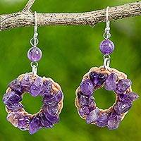 Amethyst dangle earrings, 'Purple Summer' - Amethyst Dangle Wreath Earrings Handmade in India