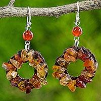 Carnelian dangle earrings, 'Auburn Delight' - Carnelian Wreath Dangle Earrings Handmade in India