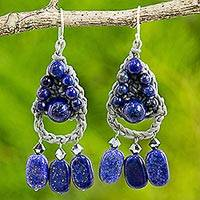 Lapis lazuli dangle earrings, 'Blue Folk Lace' - Lapis Lazuli Dangle Earrings Handmade in Thailand