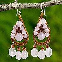 Rose quartz dangle earrings, 'Rose Folk Lace' - Rose Quartz Crocheted Dangle Earrings Handmade in Thailand