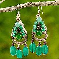 Quartz beaded dangle earrings, 'Green Folk Lace' - Dyed Quartz Crocheted Dangle Earrings Handmade in Thailand