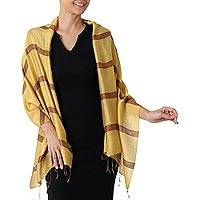 Silk blend shawl, 'Friendly Essence' - Hand Woven Yellow and Brown Silk Blend Shawl with Fringe