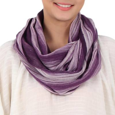 Cotton infinity scarf, 'Purple Skies' - Hand Woven 100% Cotton Infinity Scarf in Purple and White