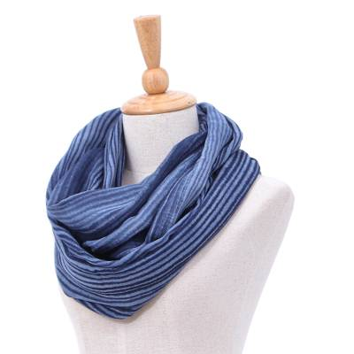 Cotton infinity scarf, 'Foggy Night' - Dark Blue and White 100% Cotton Infinity Scarf from Thailand
