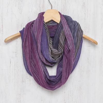 Cotton infinity scarf, 'Radiant Horizon' - Colorful 100% Cotton Hand Woven Infinity Scarf from Thailand