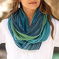 Cotton infinity scarf, 'Misty Skies' - Artisan Crafted 100% Cotton Infinity Scarf from Thailand