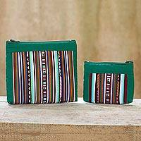 Cotton blend cosmetic bags, 'Exotic Lisu in Green' (pair) - Thai Hill Tribe Applique on 2 Cotton Blend Cosmetic Bags