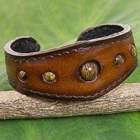 Tiger's eye cuff bracelet, 'The Power' - Tigers' Eye Cuff Bracelet in Leather Handmade in Thailand