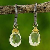 Quartz dangle earrings, 'Morning Bright' - Handmade Gold Accented Lemon Quartz Dangle Earrings