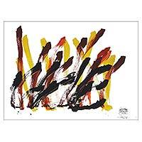 Elephant painting, 'Love Toffee' - Authentic Abstract Art Painting by Elephant from Thailand