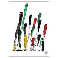 Elephant painting, 'Pine Forest' - Colorful Abstract Painting by a Elephant Artist in Thailand
