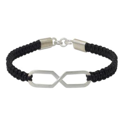 Infinity Symbol Pendant Bracelet on Black Leather Wristband