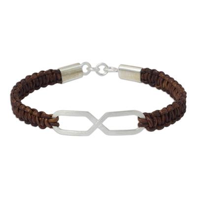 Infinity Symbol Pendant Bracelet on Brown Leather Wristband