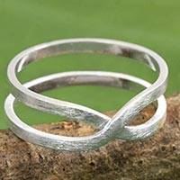 Sterling silver band ring, 'Eternity Love' - Brushed Silver Modern Thai Artisan Crafted Eternity Ring