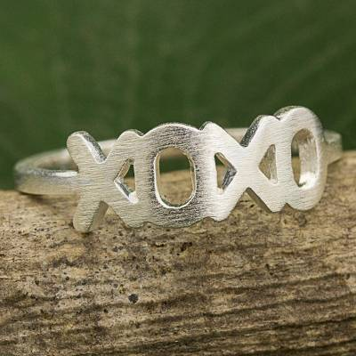 ring guards cheap on ebay - Thai Artisan Crafted Band Ring in Brushed Sterling Silver