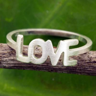 unique wedding ring exchange vows - Thai Love Ring Handcrafted Brushed Sterling Silver