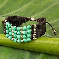 Malachite and silver beaded cord bracelet, 'The Green Sky' - Hand Crafted Malachite and Silver Beaded Cord Bracelet