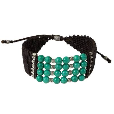 Hand Crafted Malachite and Silver Beaded Cord Bracelet